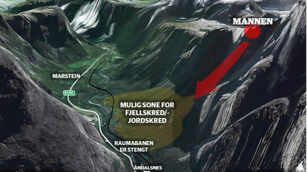 SKREDFAREN: Denne grafikken viser hvordan det varslede skredet fra fjellområdet Mannen kan ramme Rauma. Grafikk: Kjell Erik Berg / Dagbladet