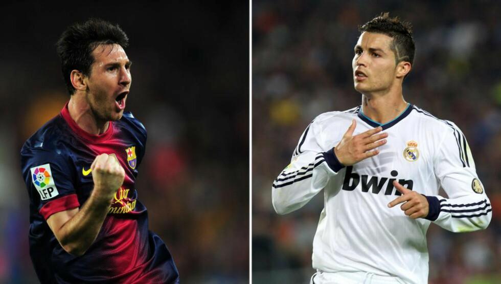 KLASSIKEREN: I kveld møtes Lionel Messi og Cristiano Ronaldo til dyst i El Clásico. Men britene går glipp av de første femten minuttene av storkampen. Foto: AFP PHOTO / LLUIS GENE / QUIQUE GARCIA / NTB Scanpix