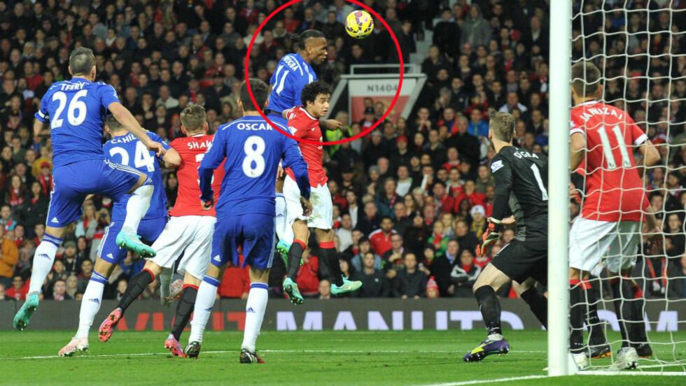 SUVEREN: Chelseas kraftspiss Didier Drogba knuste Rafael i duellen før 1-0-målet til Chelsea. Det var ikke helt etter planen, ifølge United-sjef Louis van Gaal. Foto: NTB Scanpix