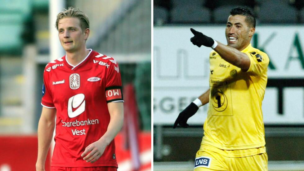 TI MER: Bodø/Glimts Ibba har ti mål mer enn Branns Erik Huseklepp så langt denne sesongen. Nå er mannen i gult sikret plass i Tippeligaen neste år, mens Huseklepp må ut i kvalik. Foto: NTB Scanpix