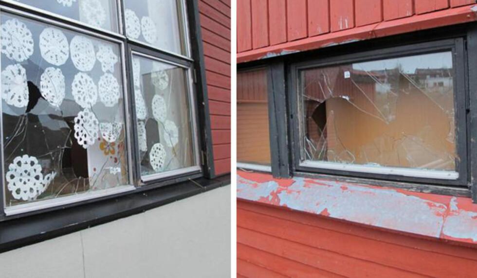 KNUSTE RUTER:  23 ruter har blitt knust på Baksalen skole i Hammerfest. Foto: Politiet