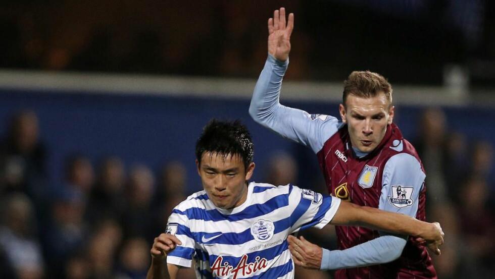 TRØBBEL: Aston Villa har spilt nesten ni timer Premier League-fotball siden sist de fant veien til nettmaskene på Anfield. Andreas Weimann er en av de som må ta måltørken på sin kappe. Foto: AFP PHOTO / ADRIAN DENNIS / NTB SCANPIX