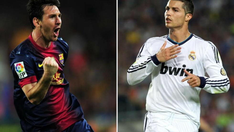 FAVORITTENE: I likhet med de fire siste årene, står årets Ballon d'Or sannsynligvis mellom Lionel Messi (t.v.) og Cristiano Ronaldo (t.h.). Ekspertene og bookmakerne holder en liten knapp på Cristano Ronaldo, som scoret i helgens El Clásico da Real Madrid vant 3-1. FOTO:  AFP PHOTO/ LLUIS GENE/ QUIQUE GARCIA