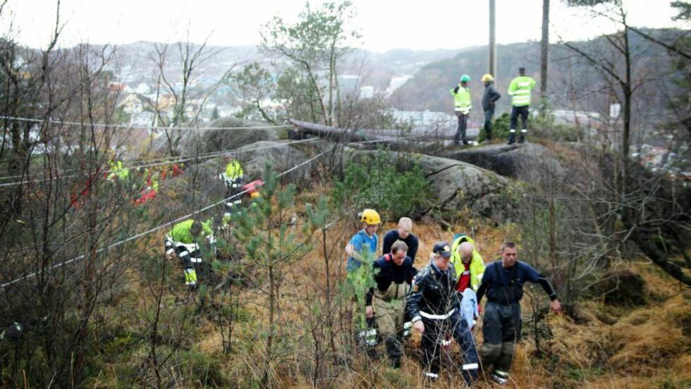 FALLULYKKE: To personer er skadd i forbindelse med fall fra ei høyspentlinje i Egersund. Foto: Ingve Aalbu/Dalane Tidende