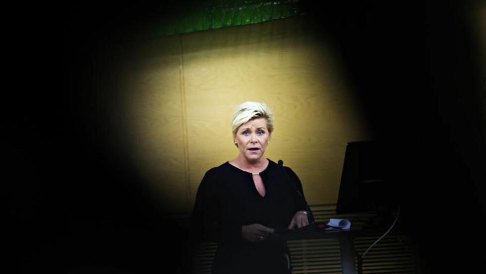 DROPPET SLANKEKUR: Frp-leder  Siv Jensen har som finansminister levert et budsjettforslag som ikke lever opp til Frp's programfestede prinsipp: «Veksten i offentlig sektor må holdes lavere enn veksten i privat sektor». Foto: Nina Hansen / Dagbladet