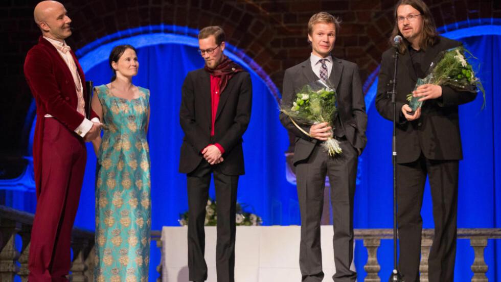 NORSK SEIER: Øyvind Torseter og Håkon Øvreås vant i kveld pris for «Brune». Foto: Magnus Fröderberg/norden.org