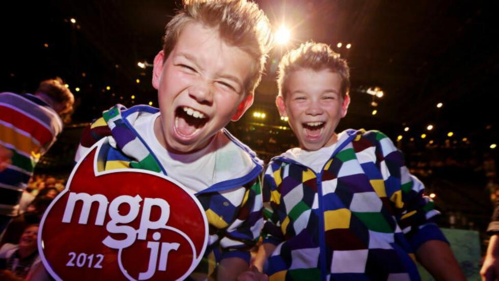 TO DRÅPER VANN: 1. september i 2012 vant de da ti år gamle tvillingene MGP Junior med låta «To dråper vann». Foto: Håkon Mosvold Larsen / NTB scanpix
