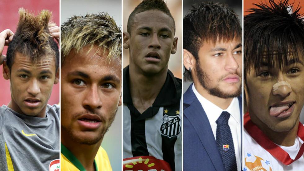 HÅRFIN: Neymar har skiftet frisyre flere ganger i sin fotballkarriere. Foto: AP/AFP