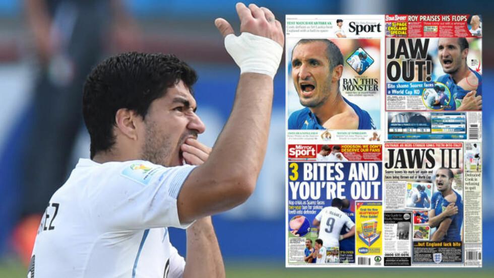 HARD DOM: Luis Suárez får hard medfart i britisk presse dagen etter den kontroversielle bitingen av Giorgio Chiellini. Foto: Scanpix. Faksimile: Telegraph/Mirror/Daily Star/Daily Express