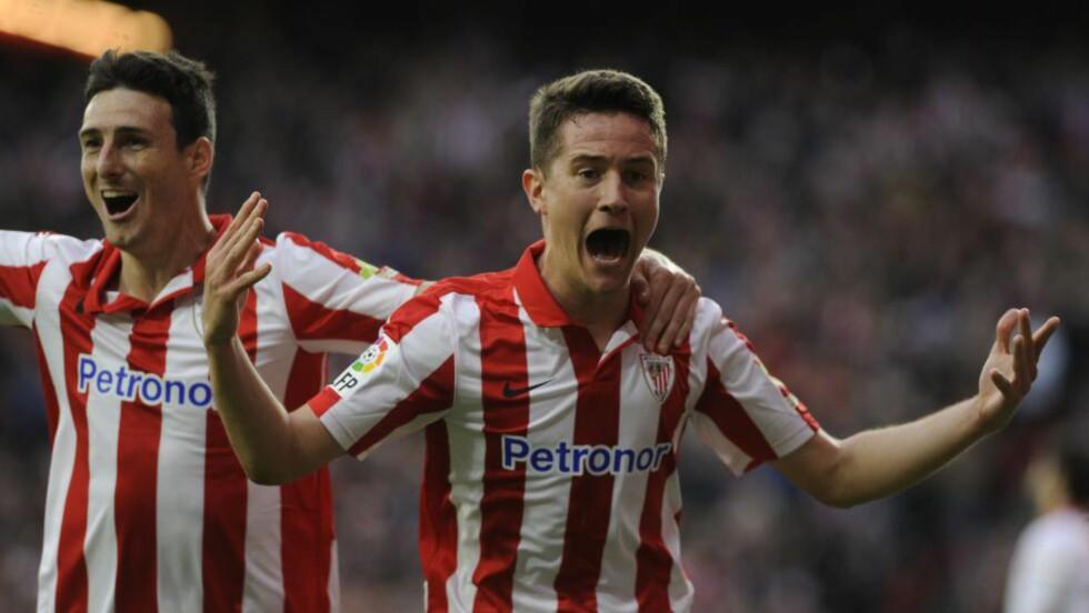 SLIPPES IKKE LETT: Athletic Bilbao-talenet Ander Herrera (t.h) er vanskelig å få kjøpt. Foto: AFP  / RAFA RIVAS / NTB SCANPIX