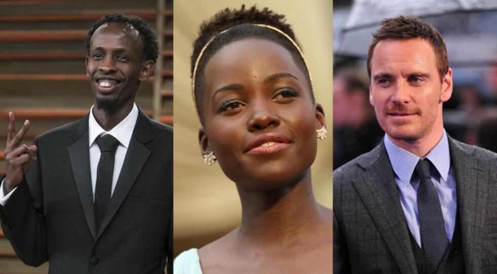 INNE I VARMEN: Barkhad Abdi, som var nominert til Oscar for sin rolle i filmen «Captain Philips» i fjor, Lupita Nyong'o, som vant Oscar for beste kvinnelige birolle for sin rolle i «12 Years a Slave» i fjor, og Michael Fassbender, som ble nominert for sin rolle i «12 Years a Slave» i fjor er alle invitert til å være med i Oscar-akadamiet, skriver bransjenettstedet Hollywood Reporter. Foto: NTB Scanpix