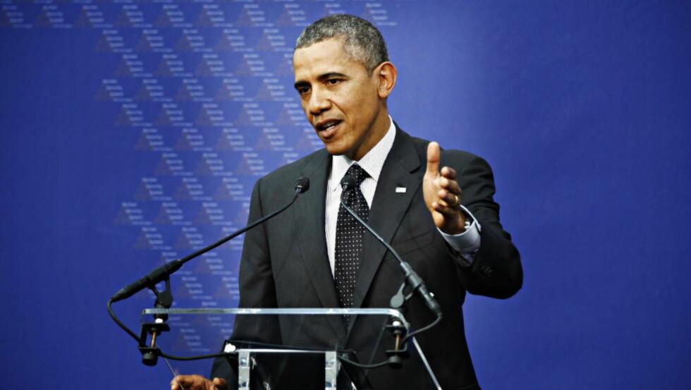 BER OM PENGER: President Barack Obama, her fra gårsdagens pressekonferanse i Haag. Foto: Jacques Hvistendahl / Dagbladet