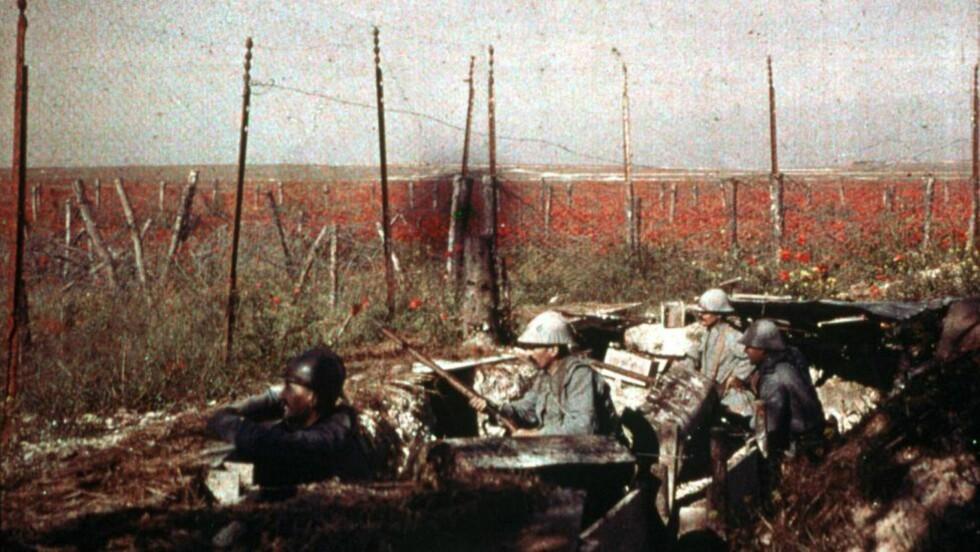 SKYTTERGRAVSKRIGEN: Den første verdenskrig 1914-18. Et unikt fargebilde tatt i en skyttergrav av de franske brødrene Lumiere. Arkivfoto SCANPIX Sverige.