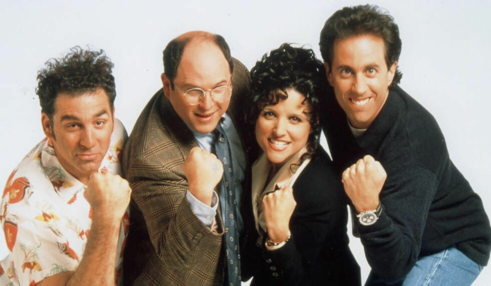 FYLLER 25: 5. juli er det 25 år siden komiserien «Seinfeld» første gang gikk på lufta. Her er hovedrolleinnehaverne Michael Richards, Jason Alexander, Julia Louis-Dreyfus og Jerry Seinfeld.