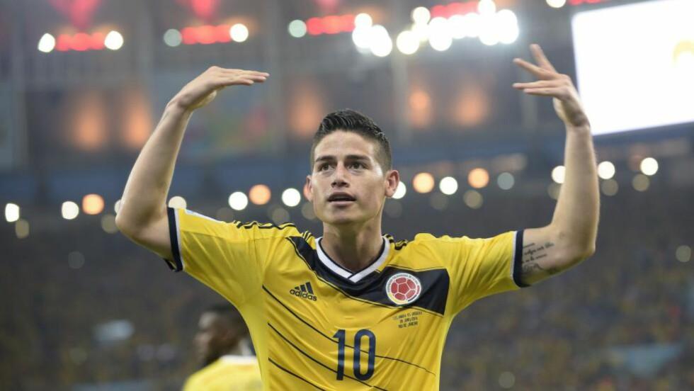 TOPPSCORER: Nå er Colombias James Rodriguez VMs toppscorer, med sine fem mål på fire kamper. Foto: AFP PHOTO / DANIEL GARCIA / NTB Scanpix