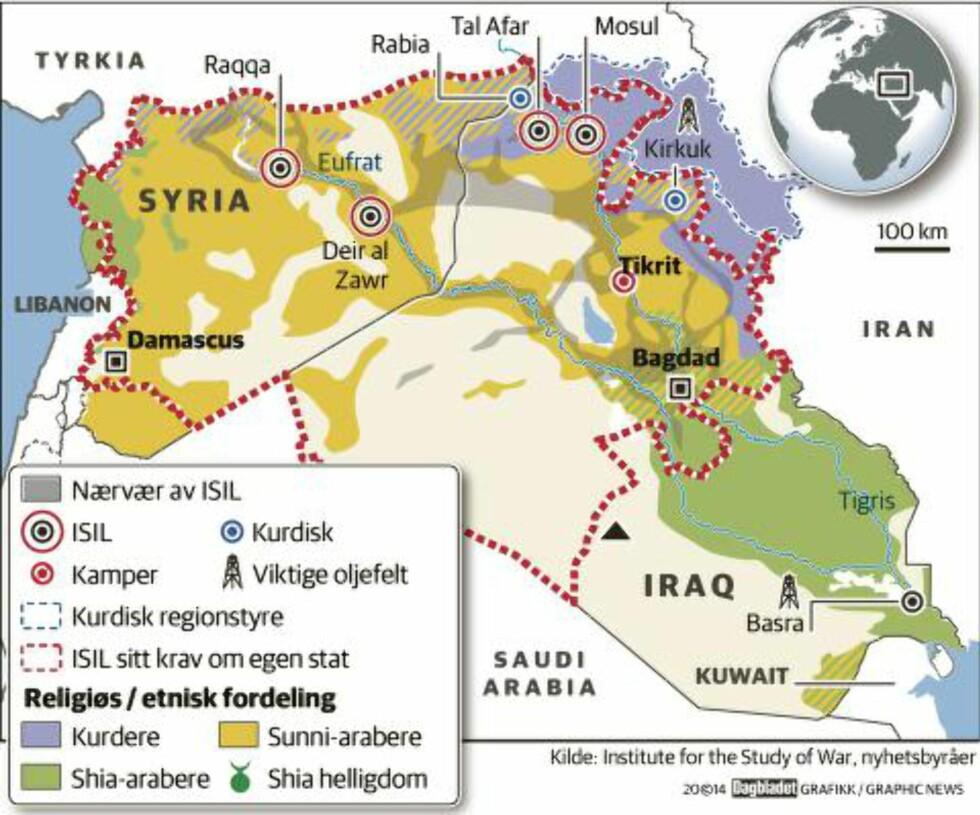 HELE LEVANTEN:  Det røde omrisset viser området som ISIL tidligere har sagt de ønsker som sin egen stat. Det området de nå gjør krav på som Den islamske stat, er imidlertid mindre.