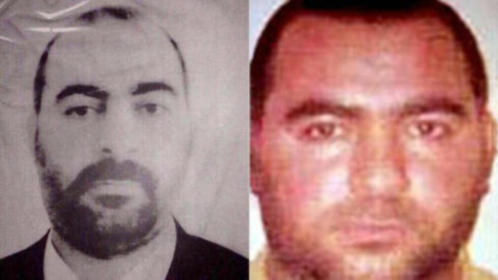 KALIF: Ikke overraskende er ISIL-leder Abu Bakr al-Baghdadi utpekt til kalif i det nyerklærte kalifatet. Bildet til venstre er frigitt av irakiske myndigheter, mens bildet til høyre er utgitt av amerikanske myndigheter, og skal være de eneste to eksisterende bildene av al-Baghdadi. Foto: NTB Scanpix