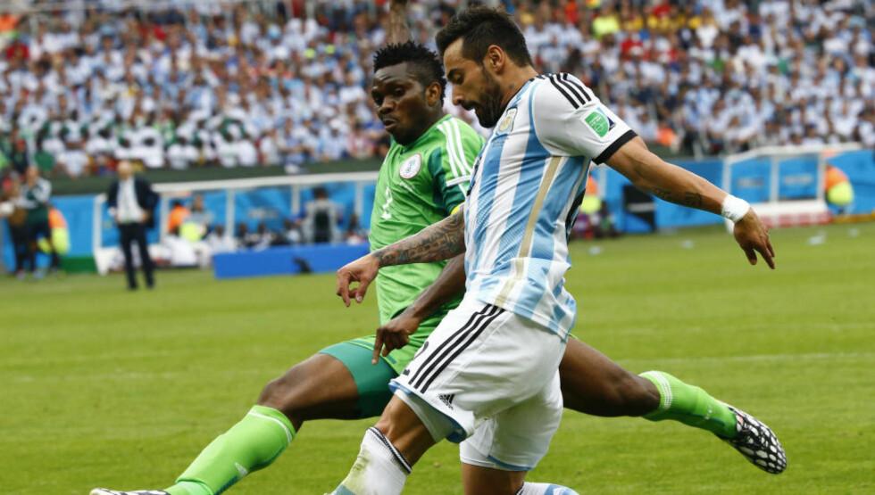TROR: Nigeria spilte 0-0 mot Nigeria i sin første kamp i VM-sluttspillet. Det poenget viste seg å bli viktig. Med en knepen seier over Bosnia før tapet for Argentina ble det plass i åttedelsfinalen. Foto: REUTERS/Stefano Rellandini/NTB Scanpix