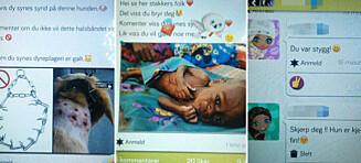 - Små barn deler bilder av sultende barn og mishandlede katter med utstoppede øyne