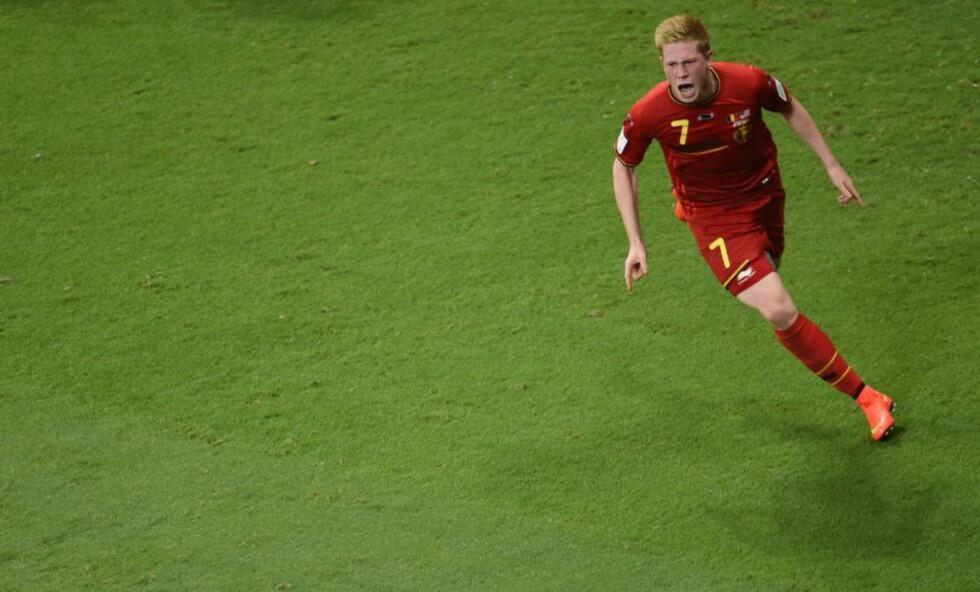 MPLSCORER:: Kevin De Bruyne scoret 1-0-målet da Belgia tok seg videre til kvartfinalen med 2-1-seier over USA i kveld.  AFP PHOTO / PEDRO UGARTE / NTB Scanpix