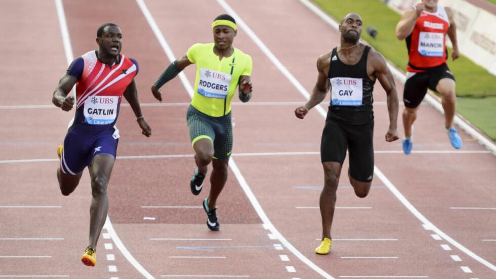 RASK: Justin Gatlin løp 100 meter på 9,93 og vant enkelt. Foto: AP Photo/Keystone, Martial Trezzini