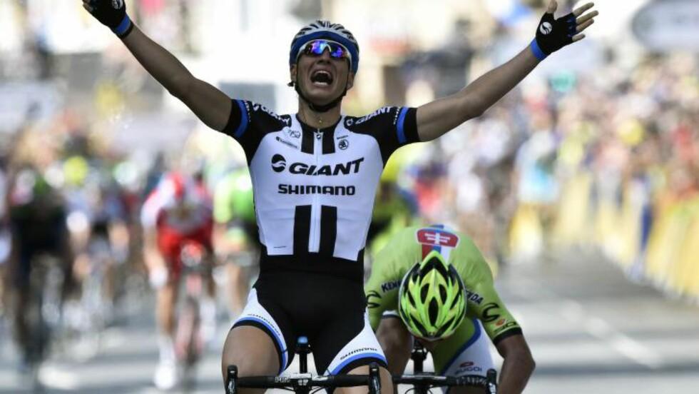 VANT: Marcel Kittel kunne juble for årets første seier i Tour de France. Foto: AFP PHOTO / LIONEL BONAVENTURE