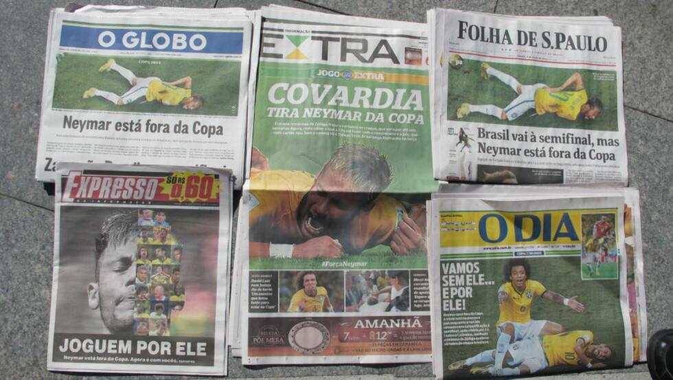 SAMME FOKUS:   Slik ser førstesidene ut i Brasil i dag. Alt dreier seg om Neymar. FOTO: TORE ULRIK BRATLAND