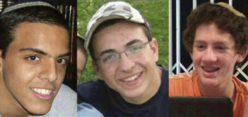 KIDNAPPET OG DREPT: 18 dager etter at de ble kidnappet, ble de israelske ungdommene Eyal Yifrah (19), Gilad Shaar (16) og Naftali Fraenkel (16) funnet drept mandag. Foto: NTB Scanpix