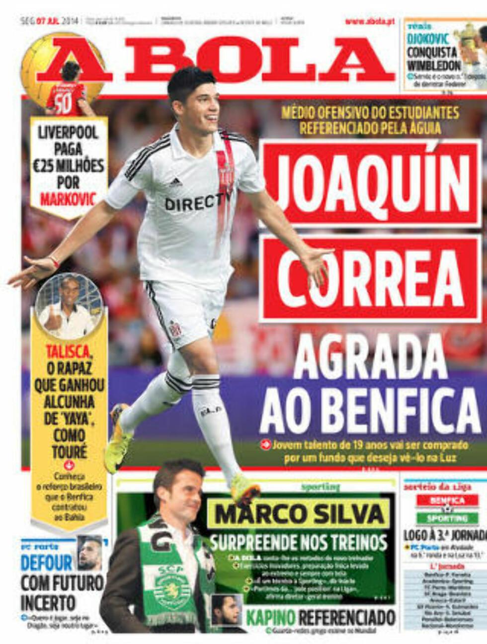 KLAR:  Dagens forside på A Bola slår fast at Lazar Markovoc blir Liverpool-spiller. Faksimile: A Bola