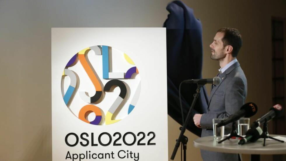 FÅR STØTTE: Oslos byråd for kultur og næring, Halstein Bjercke presenterte i vinter logoen for OL i Oslo 2022. Et flertall av Høyres fylkesledere vil ha OL til byen. Foto: Cornelius Poppe / NTB scanpix