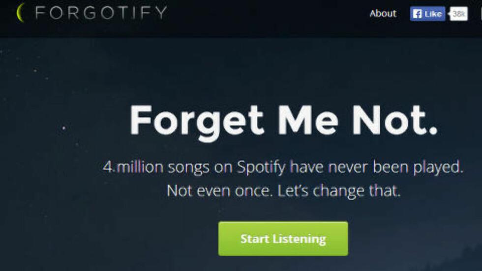 DEN VIRKELIG GLEMTE MUSIKKEN: Cirka en femtedel av de tjue millioner låtene på Spotify har aldri blitt spilt. Det ønsker Forgotify å gjøre noe med. Foto: KIRSTI ØSTVANG / DINSIDE.NO