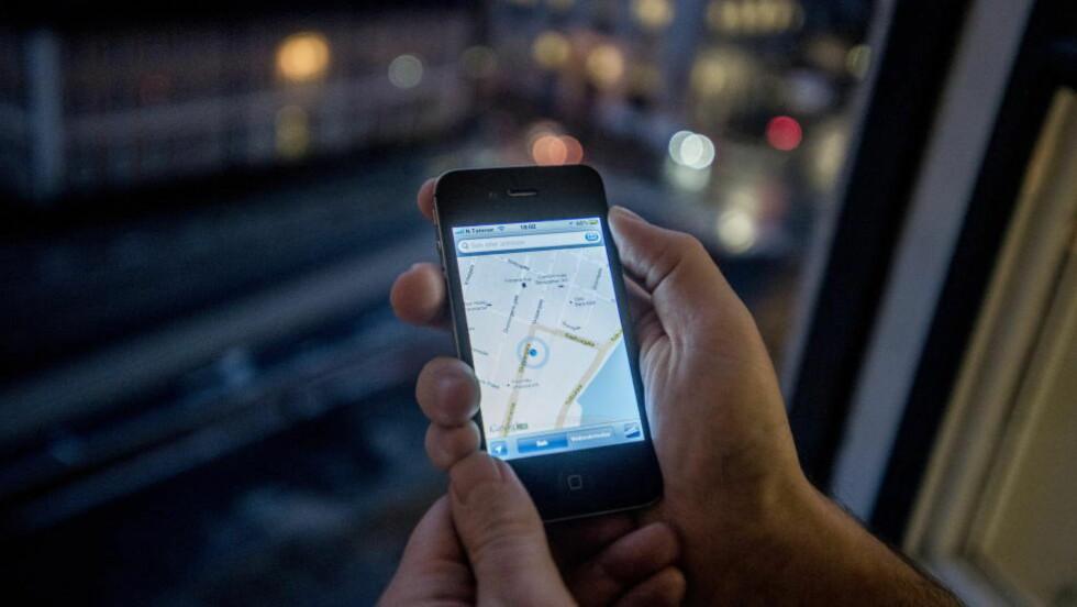 IPHONE: Under stedstjenester på iPhonen kan man finne en logg som viser de stedene man har besøkt oftest. FOTO:Thomas Rasmus Skaug / Dagbladet