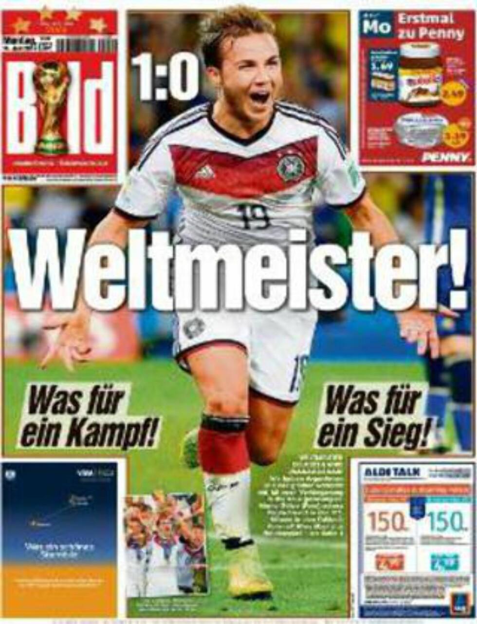 BILD:  Slik ser forsiden til den tyske storavisen Bild ut i dag.
