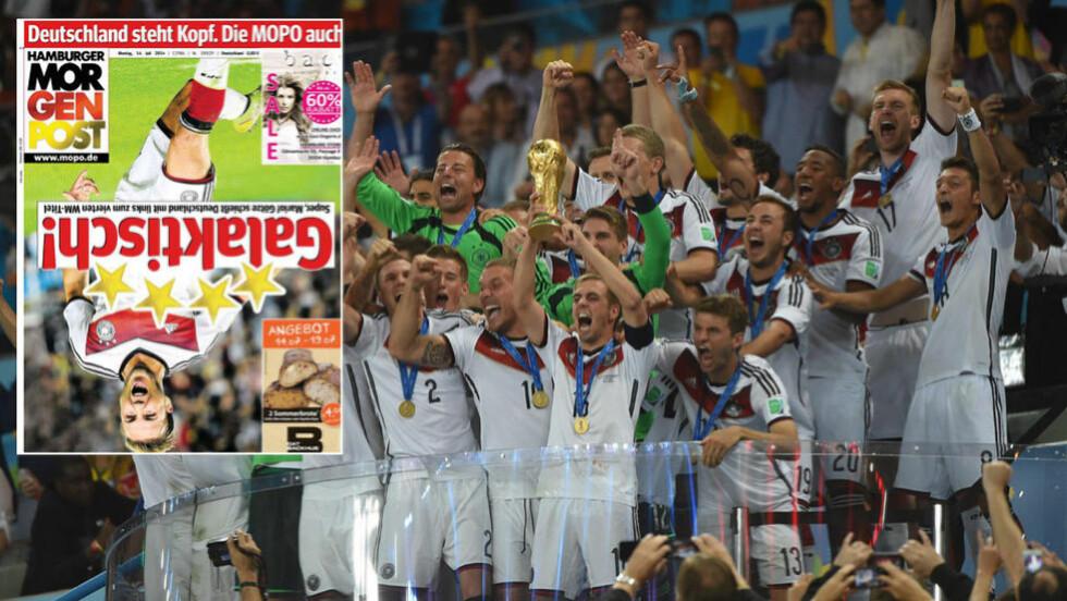 OPP NED:  Tyskland er snudd på hodet etter at VM-tittelen ble sikret i går. Det er også forsiden til Hamburger Morgenpost. Foto: Scanpix.
