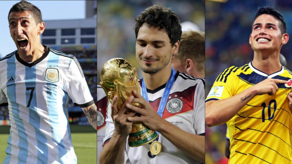 ETTERTRAKTA: Angel Di Maria, Mats Hummels og James Rodriguez er alle ønsket av de største klubbene i verden. Foto: Scanpix