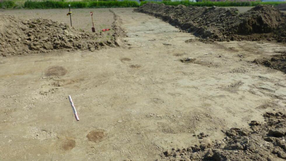STOLPERESTER: Arkeologene har funnet ti stolperester som kan stamme fra en 3500 år gammel bosetning.