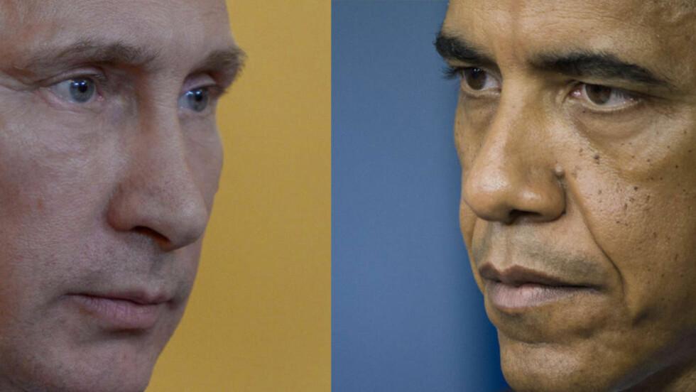 MAKTKAMPEN: Forholdet mellom Russland og USA var spent allerede før Malaysia Airlines-flyet ble skutt ned over Øst-Ukrina torsdag. Nå øker presset mot Putin. Foto: Alexei Nikolsky / AFP Photo / NTB Scanpix og Jim Watson / AFP Photo / NTB Scanxpix