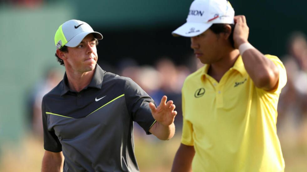 STORSPILL. Nordiren Rory McIlroy viser storform på golfbanen og leder British Open. Foto: AP Photo/Scott Heppell