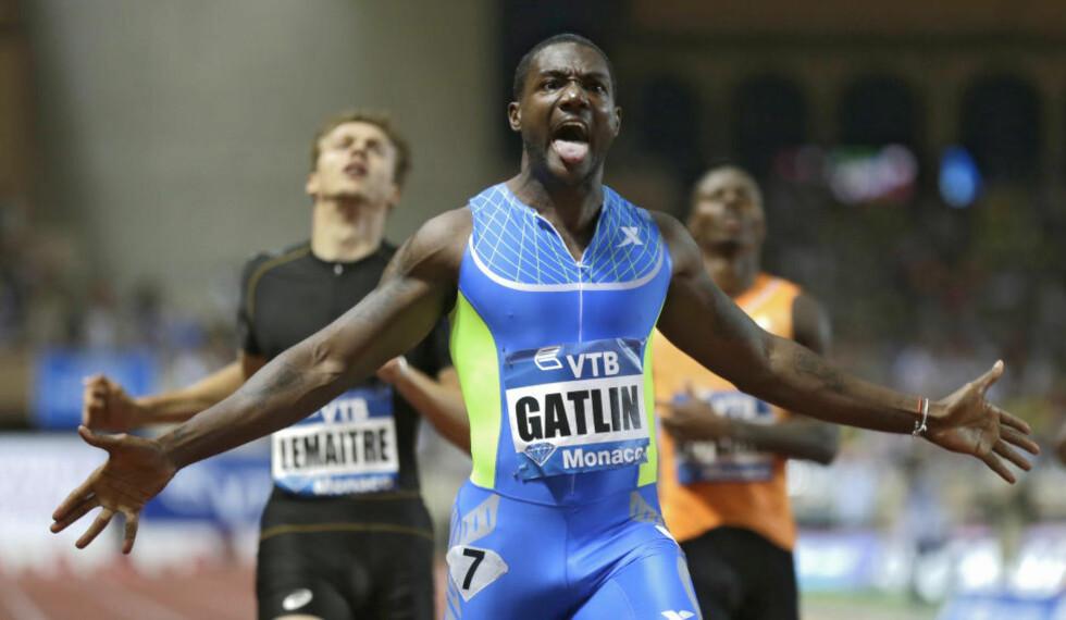 I FORM: Justin Gatlin løp inn til årsbeste på 200 meter i Monaco. Foto: AP Photo/Lionel Cironneau