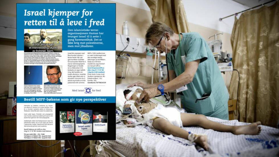BESKYLDES: Israel-venner beskylder den norske Gaza-legen Mads Gilbert for å komme med grove, feilaktige beskyldninger mot Israel. Gilbert tar kraftig til motmæle. Foto: Tomm W. Christiansen/annonse-faksimile