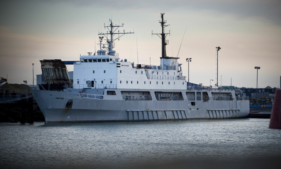 NIGERIABÅT: Det tidligere norske marinefartøyet KNM Horten ligger til kai i den engelsk havnebyen Ramsgate. Senere seilte det til Nigeria. Foto: Øistein Norum Monsen / DAGBLADET