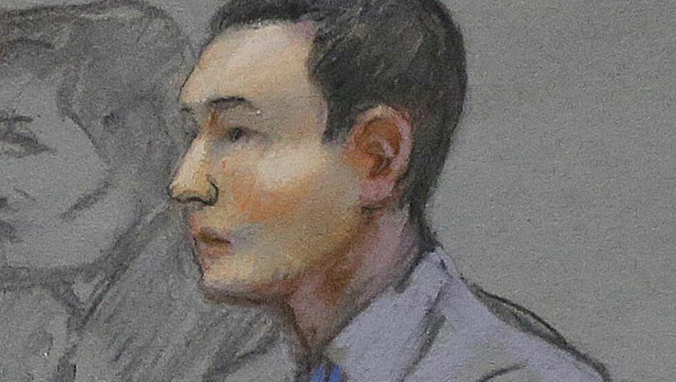 FJERNET GJENSTANDER: Azamat Tazhayakov er dømt for å ha fjernet gjenstander fra terrortiltalte Dzhokar Tzarnajevs rom. Rettstegning: JANE FLAVELL COLLINGS / AP / NTB SCANPIX
