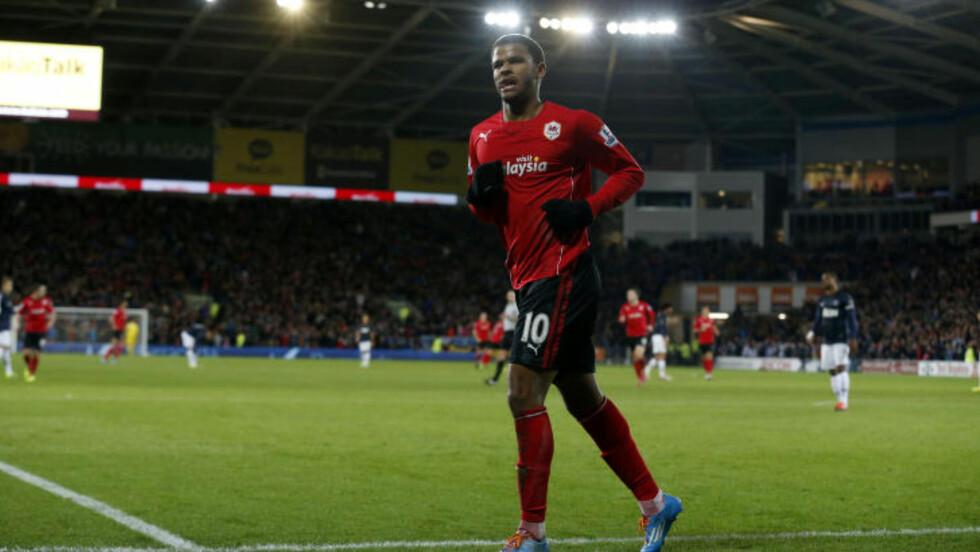FORSVINNER?: Frazier Campbell, som blant annet har en fortid i ungdomsakademiet til Manchester United, kan også forsvinne fra Cardiff iløpet av overgangsvinduet. Foto: AP Photo/Matt Dunham/NTB Scanpix