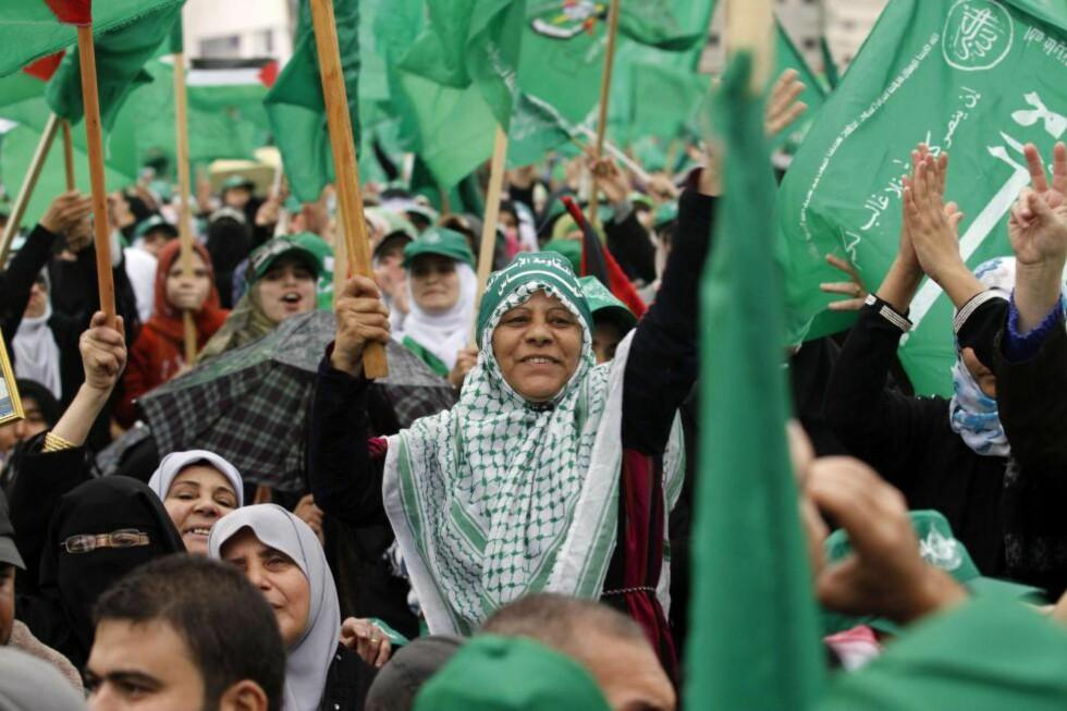 IGNORERT: Hamas' forslag til en langvarig våpenhvileperiode hvor grensene overvåkes av internasjonale observatører har blitt ignorert av Israel, skriver forfatteren. Bildet er fra Hamas' 25-årsmarkering i 2012. Foto: Mohammed Abed / AFP / NTB Scanpix