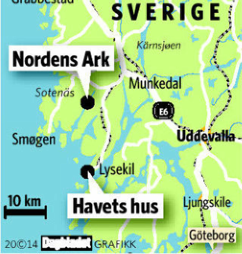 SVERIGETUR:  Se Nordens Ark og Havets Hus på en dag, over grensa. Grafikk: KJELL ERIK BERG