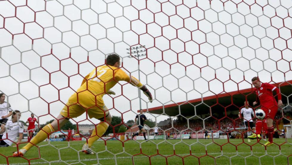 VAR I TRØBBEL: Danny North sendte Sligo Rovers i ledelsen i det 13. spilleminuttet. Foto: INPHO/James Crombie / NTB scanpix