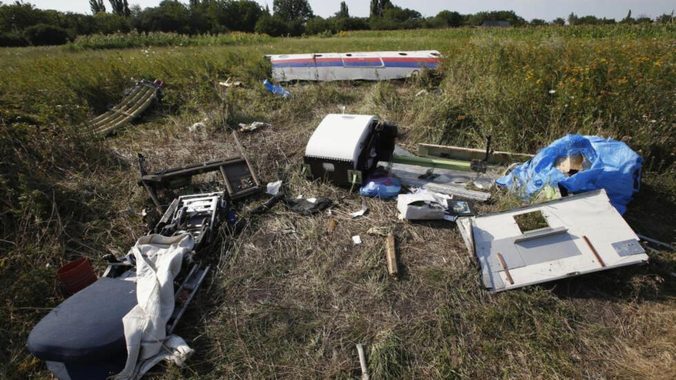 VRAK OG KROPPSDELER: Mer enn en uke etter at et passasjerfly ble skutt ned i Ukraina, finnes det fortsatt kroppsdeler på åstedet. Lørdag skal levningene av de døde fra flyet som allerede er fraktet med tog til den ukrainske byen Kharkiv, vil bli sendt til Nederland lørdag slik at prosessene med identifisering og hjemsendelse kan starte. Foto: Maxim Zmejev/ Reuters/ NTB scanpix.