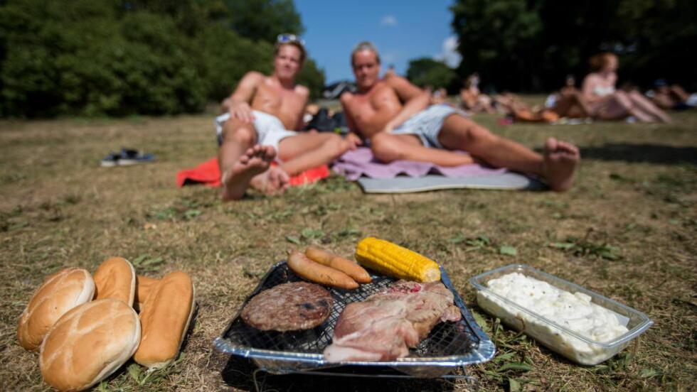 MYE AV DET SAMME: Mange glemmer at det går fint å grille andre ting enn hamburgere, pølser og koteletter. Ved å variere grillmaten, kan du få nye smaksopplevelser, redusere inntaket av mettet fett og unngå at måltidet blir en kaloribombe, mener ekspertene. Foto: JØRGEN KVALSVIK