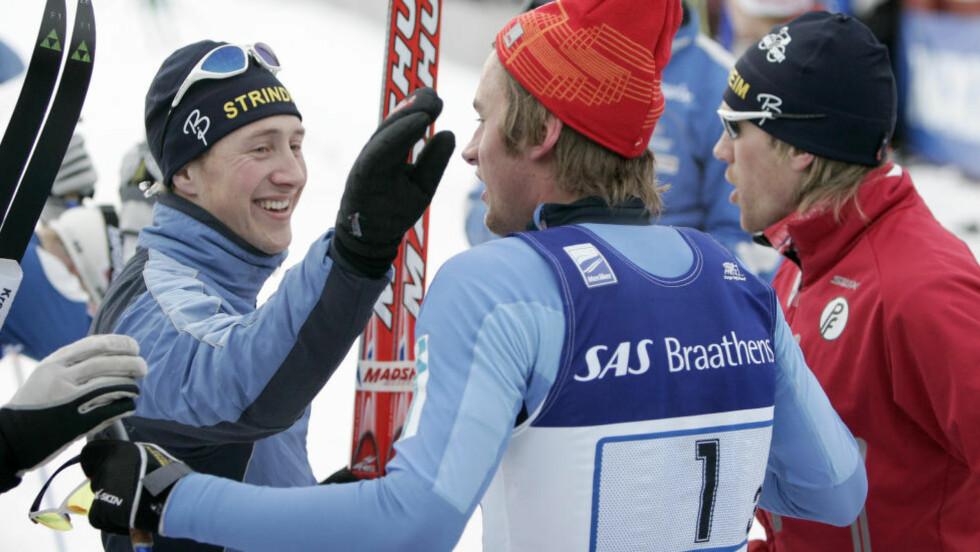 TOK GULL SAMMEN: Stig Rune Kveen (høyre) tok gull på stafetten i NM i 2007 sammen med Petter Northug. Nå er han Northugs nye trener. Foto: Gorm Kallestad / SCANPIX .