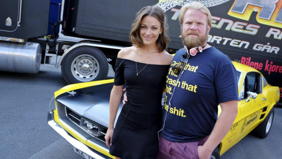 NORSK BILFILM: Jenny Skavlan og Anders Baasmo Christiansen er to av skuespillerne i «Børning» - som i tillegg vil by på en rekke privateide biler av rånete karakter. Foto: Håkon Mosvold Larsen / NTB Scanpix